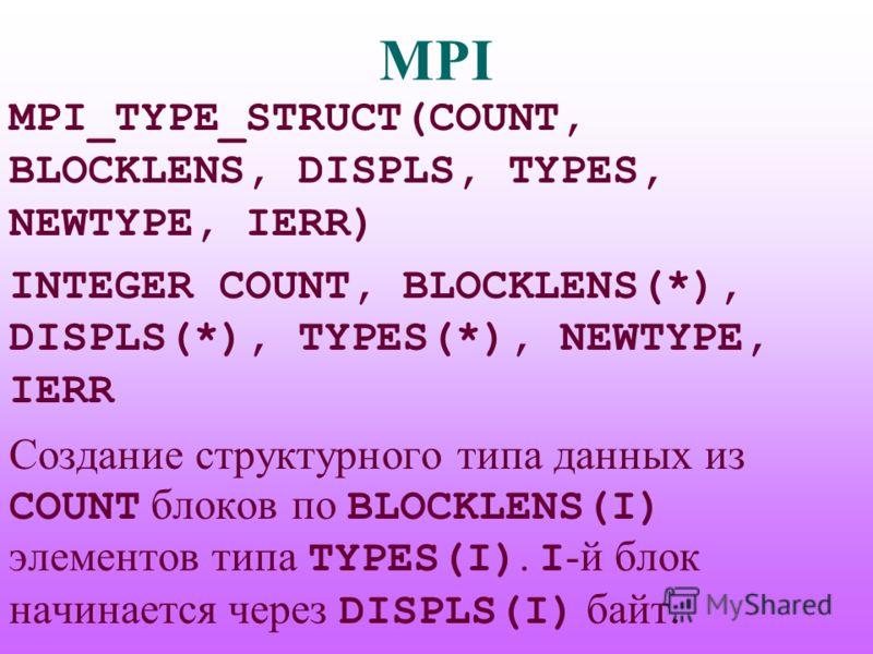 MPI MPI_TYPE_STRUCT(COUNT, BLOCKLENS, DISPLS, TYPES, NEWTYPE, IERR) INTEGER COUNT, BLOCKLENS(*), DISPLS(*), TYPES(*), NEWTYPE, IERR Создание структурного типа данных из COUNT блоков по BLOCKLENS(I) элементов типа TYPES(I). I -й блок начинается через