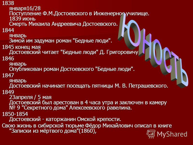 1838 января16/28 Поступление Ф.М.Достоевского в Инженерное училище. 1839 июнь Смерть Михаила Андреевича Достоевского. 1844 январь Зимой им задуман роман