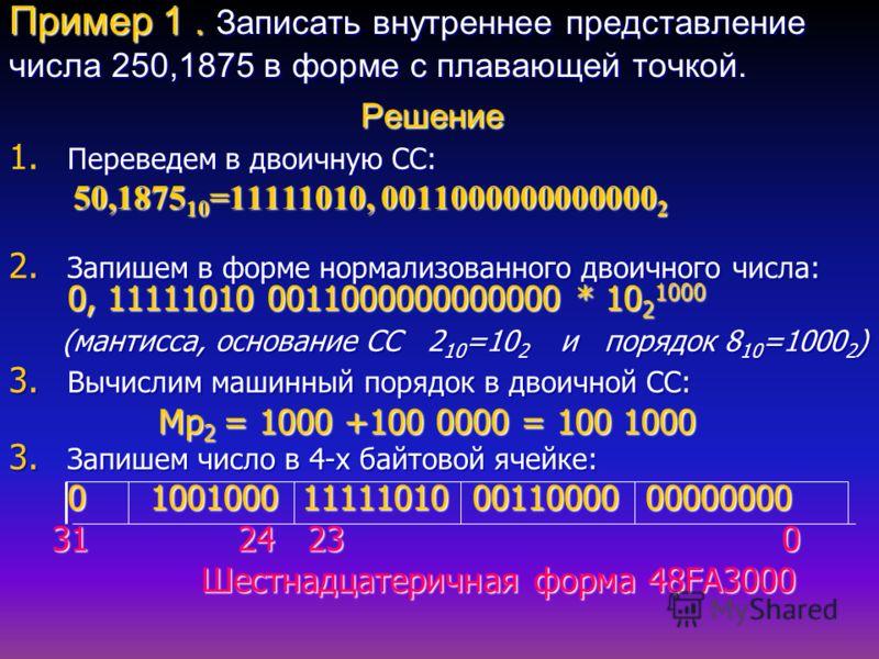 Пример 1. Записать внутреннее представление числа 250,1875 в форме с плавающей точкой. Решение 1. Переведем в двоичную СС: 50,1875 10 =11111010, 0011000000000000 2 50,1875 10 =11111010, 0011000000000000 2 2. Запишем в форме нормализованного двоичного