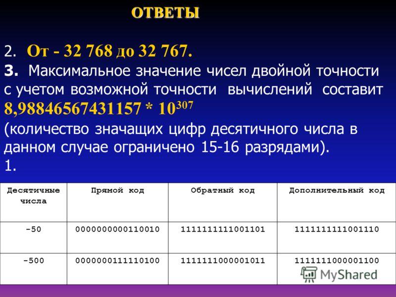 ОТВЕТЫ ОТВЕТЫ 2. От - 32 768 до 32 767. 3. Максимальное значение чисел двойной точности с учетом возможной точности вычислений составит 8,98846567431157 * 10 307 (количество значащих цифр десятичного числа в данном случае ограничено 15-16 разрядами).