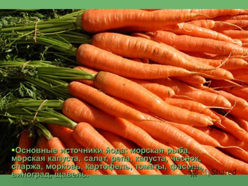 Основные источники йода: морская рыба, морская капуста, салат, репа, капуста, чеснок, спаржа, морковь, картофель, томаты, фасоль, виноград, щавель. Основные источники йода: морская рыба, морская капуста, салат, репа, капуста, чеснок, спаржа, морковь,