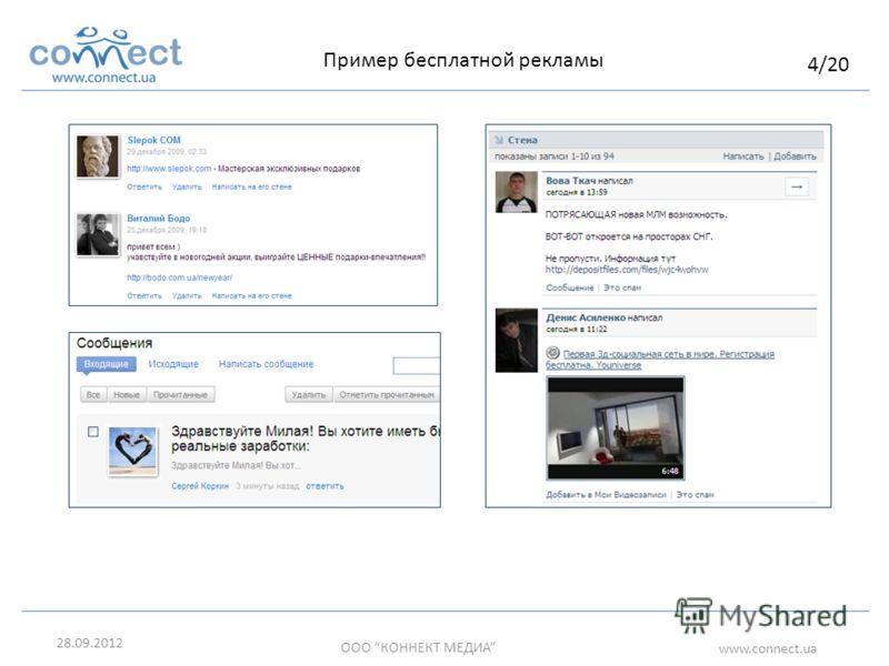05.07.2012 ООО КОННЕКТ МЕДИА www.connect.ua Пример бесплатной рекламы 4/20