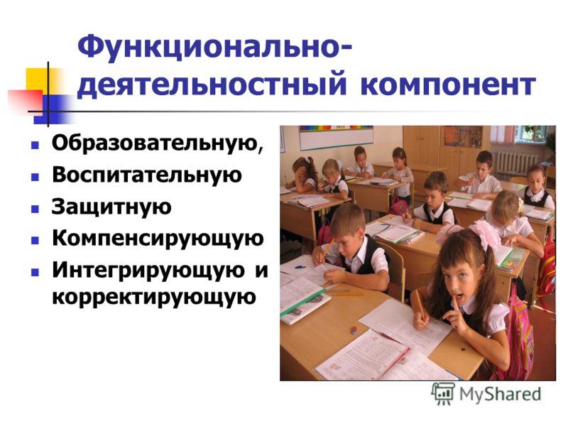 Функционально- деятельностный компонент Образовательную, Воспитательную Защитную Компенсирующую Интегрирующую и корректирующую
