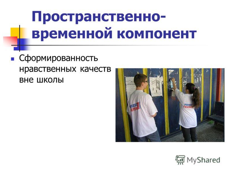 Пространственно- временной компонент Сформированность нравственных качеств вне школы