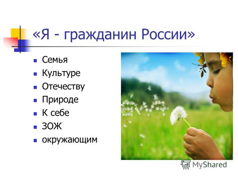«Я - гражданин России» Семья Культуре Отечеству Природе К себе ЗОЖ окружающим