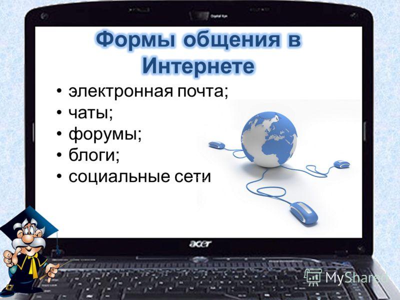 электронная почта; чаты; форумы; блоги; социальные сети