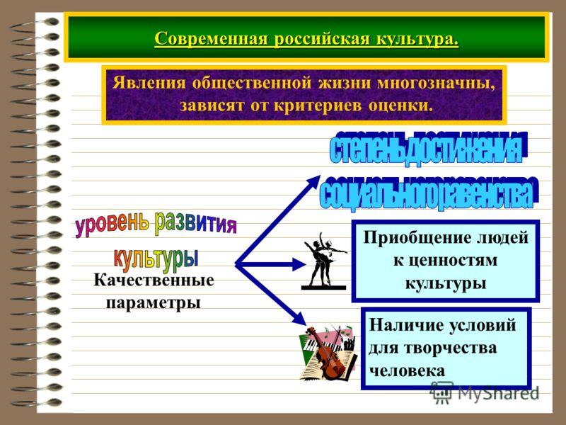 Современная российская культура. Явления общественной жизни многозначны, зависят от критериев оценки. Качественные параметры Приобщение людей к ценностям культуры Наличие условий для творчества человека