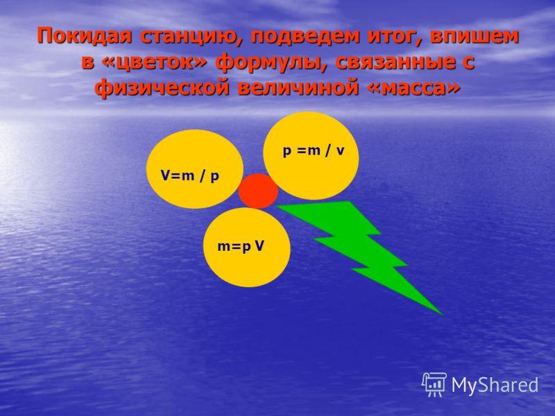 Покидая станцию, подведем итог, впишем в «цветок» формулы, связанные с физической величиной «масса» m=p V V=m / p p =m / v