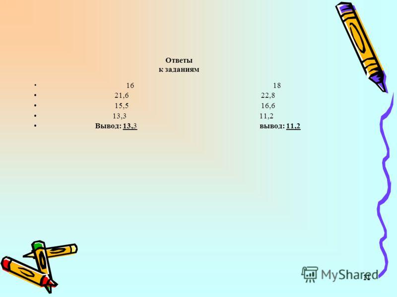 11 Ответы к заданиям 16 18 21,6 22,8 15,5 16,6 13,3 11,2 Вывод: 13,3 вывод: 11,2