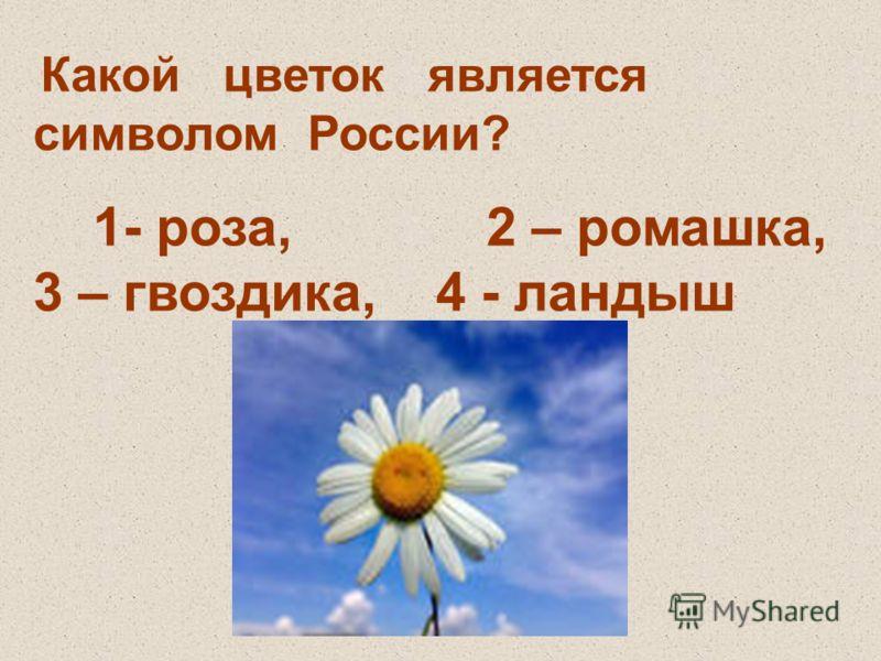 Какой цветок является символом России? 1- роза, 2 – ромашка, 3 – гвоздика, 4 - ландыш