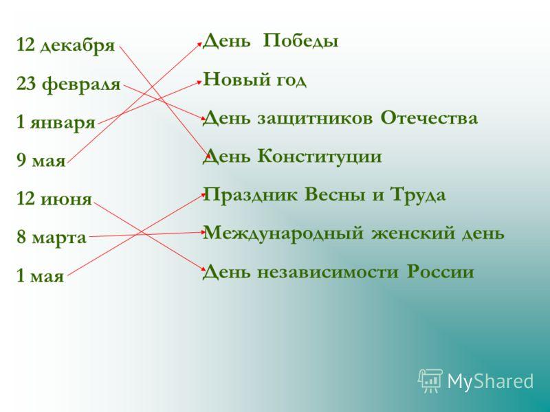 12 декабря 23 февраля 1 января 9 мая 12 июня 8 марта 1 мая День Победы Новый год День защитников Отечества День Конституции Праздник Весны и Труда Международный женский день День независимости России