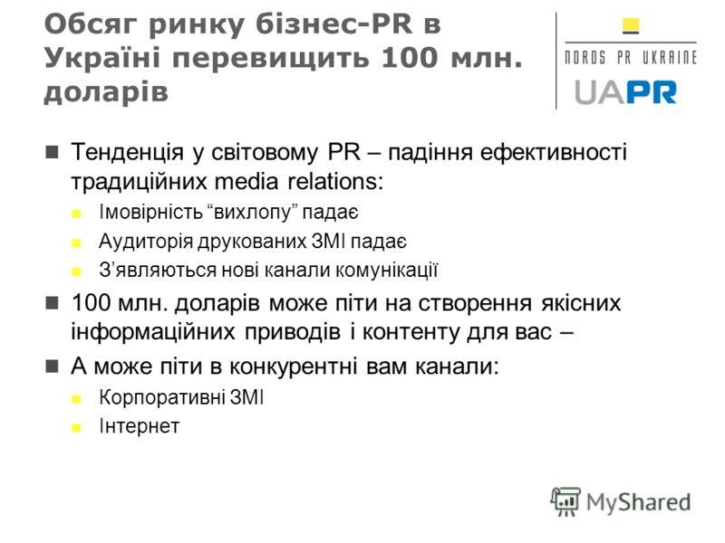 Обсяг ринку бізнес-PR в Україні перевищить 100 млн. доларів Тенденція у світовому PR – падіння ефективності традиційних media relations: Імовірність вихлопу падає Аудиторія друкованих ЗМІ падає Зявляються нові канали комунікації 100 млн. доларів може