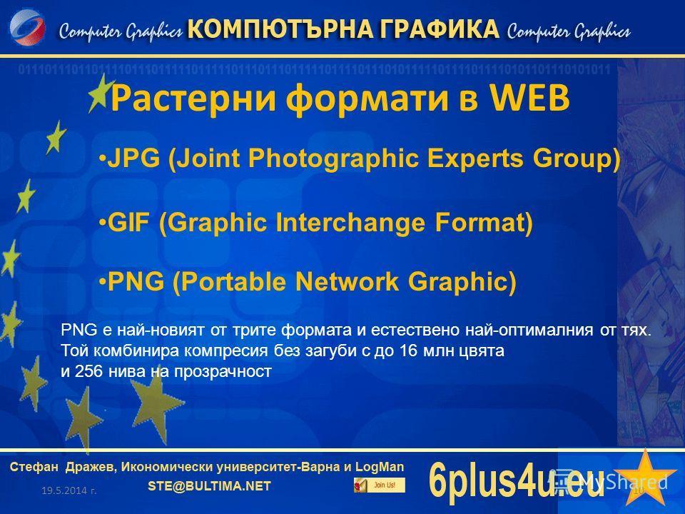 Растерни формати в WEB 19.5.2014 г.10 JPG (Joint Photographic Experts Group) GIF (Graphic Interchange Format) PNG (Portable Network Graphic) PNG е най-новият от трите формата и естествено най-оптималния от тях. Той комбинира компресия без загуби с до
