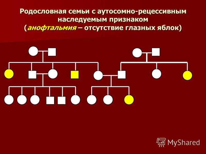 Родословная семьи с аутосомно-рецессивным наследуемым признаком (анофтальмия – отсутствие глазных яблок)