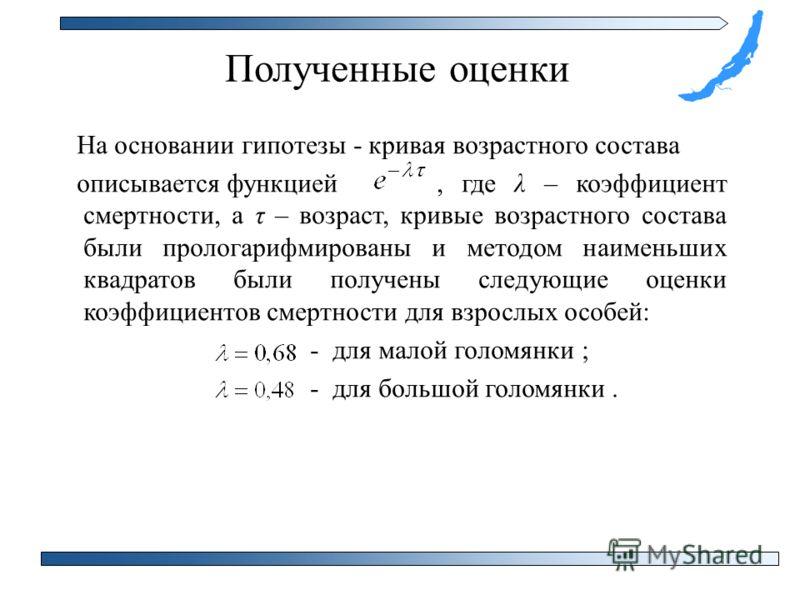 Полученные оценки На основании гипотезы - кривая возрастного состава описывается функцией, где λ – коэффициент смертности, а τ – возраст, кривые возрастного состава были прологарифмированы и методом наименьших квадратов были получены следующие оценки