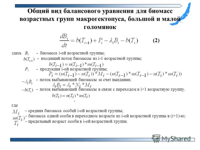 Общий вид балансового уравнения для биомасс возрастных групп макрогектопуса, большой и малой голомянок (2) здесь В i - биомасса i-ой возрастной группы; - входящий поток биомассы из i-1 возрастной группы; Р i - продукция i-ой возрастной группы; - пото