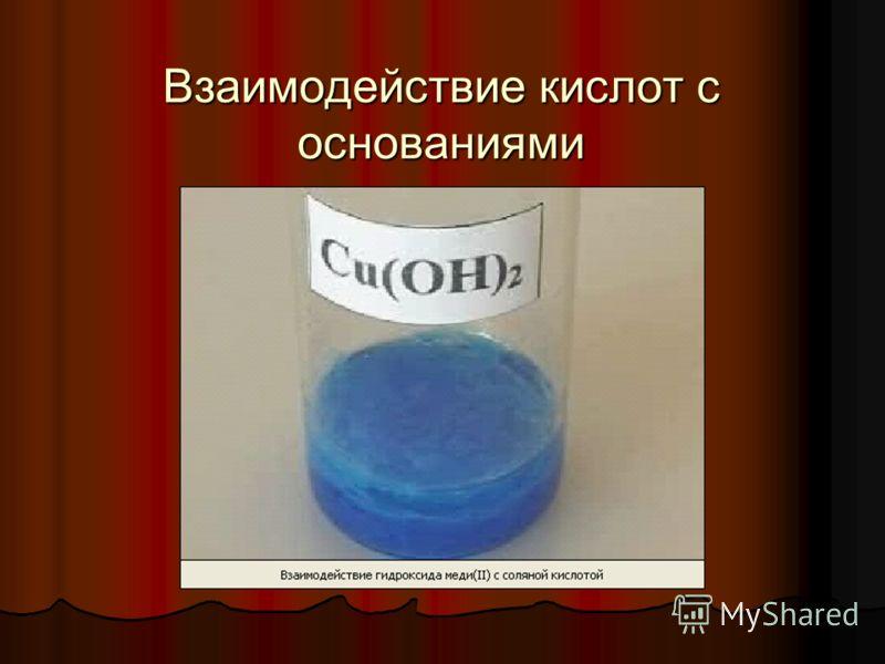 Взаимодействие кислот с основаниями