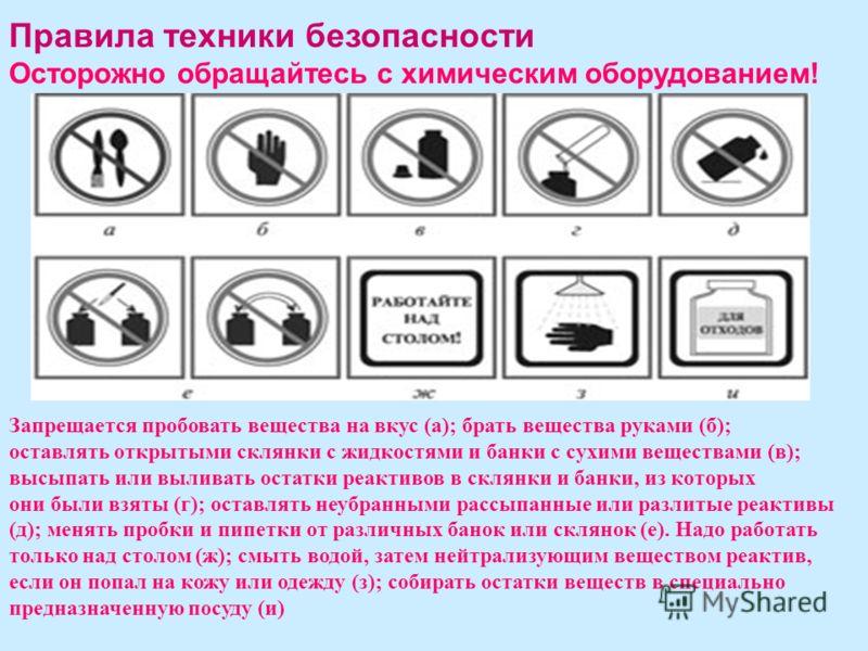 Правила техники безопасности Осторожно обращайтесь с химическим оборудованием! Запрещается пробовать вещества на вкус (а); брать вещества руками (б); оставлять открытыми склянки с жидкостями и банки с сухими веществами (в); высыпать или выливать оста