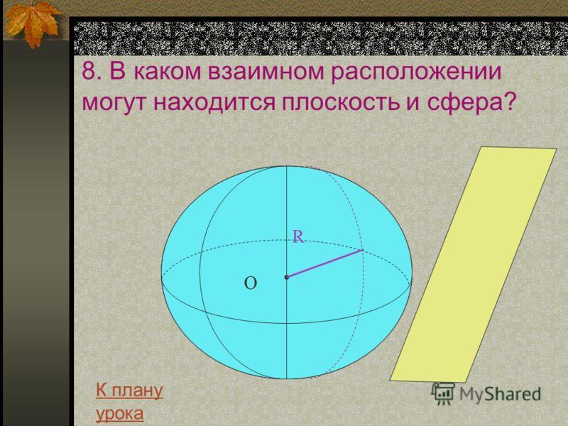 8. В каком взаимном расположении могут находится плоскость и сфера? R О К плану урока