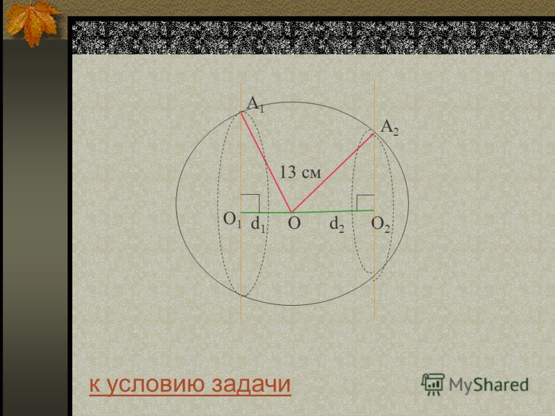 О2О2 О 13 см к условию задачи О1О1 А2А2 А1А1 d2d2 d1d1