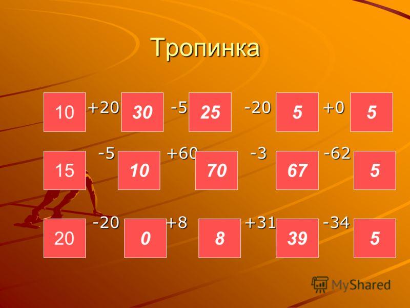 Тропинка +20 -5 -20 +0 +20 -5 -20 +0 -5 +60 -3 -62 -5 +60 -3 -62 -20 +8 +31 -34 -20 +8 +31 -34 10 20 15 0 10 8 70 39 67 5 5 552530