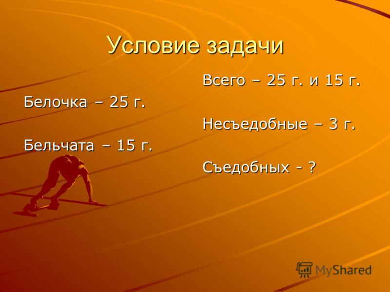 Условие задачи Белочка – 25 г. Бельчата – 15 г. Всего – 25 г. и 15 г. Несъедобные – 3 г. Съедобных - ?