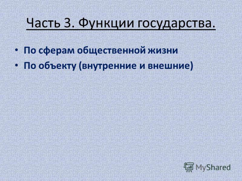 Часть 3. Функции государства. По сферам общественной жизни По объекту (внутренние и внешние)