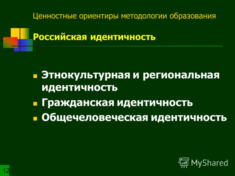 Ценностные ориентиры методологии образования Российская идентичность Этнокультурная и региональная идентичность Гражданская идентичность Общечеловеческая идентичность 1212