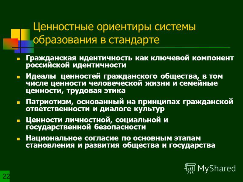 Ценностные ориентиры системы образования в стандарте Гражданская идентичность как ключевой компонент российской идентичности Идеалы ценностей гражданского общества, в том числе ценности человеческой жизни и семейные ценности, трудовая этика Патриотиз