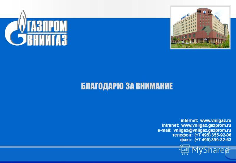 17 Заголовок презентации 17 БЛАГОДАРЮ ЗА ВНИМАНИЕ internet: www.vniigaz.ru intranet: www.vniigaz.gazprom.ru e-mail: vniigaz@vniigaz.gazprom.ru телефон: (+7 495) 355-92-06 факс: (+7 495) 399-32-63