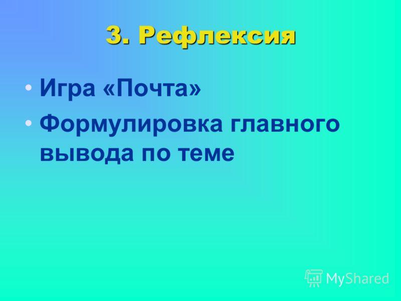 3. Рефлексия Игра «Почта» Формулировка главного вывода по теме