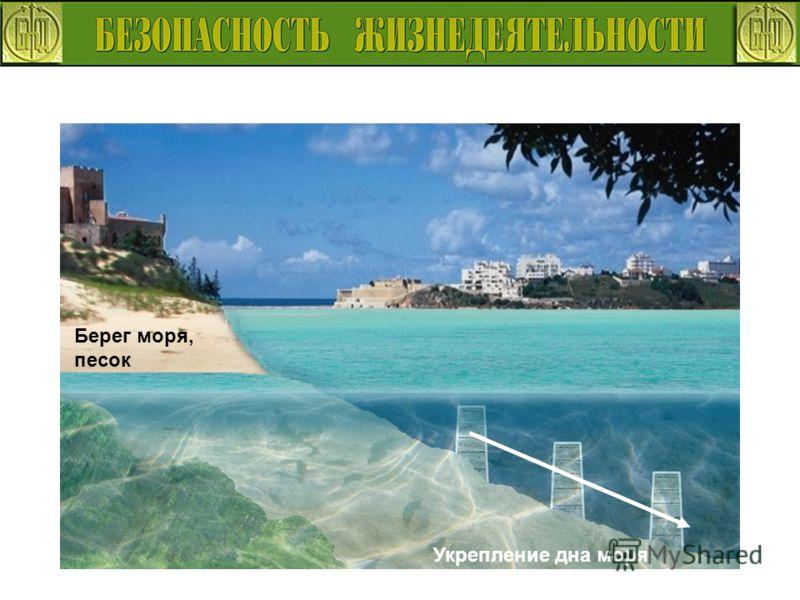 Берег моря, песок Укрепление дна моря