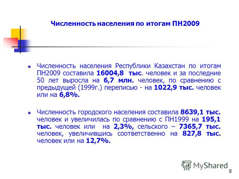 8 Численность населения Республики Казахстан по итогам ПН2009 составила 16004,8 тыс. человек и за последние 50 лет выросла на 6,7 млн. человек, по сравнению с предыдущей (1999г.) переписью - на 1022,9 тыс. человек или на 6,8%. Численность городского