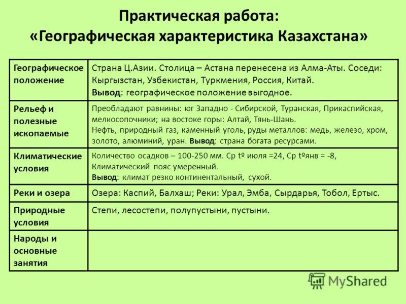 Географическое положение Страна Ц.Азии. Столица – Астана перенесена из Алма-Аты. Соседи: Кыргызстан, Узбекистан, Туркмения, Россия, Китай. Вывод: географическое положение выгодное. Рельеф и полезные ископаемые Преобладают равнины: юг Западно - Сибирс