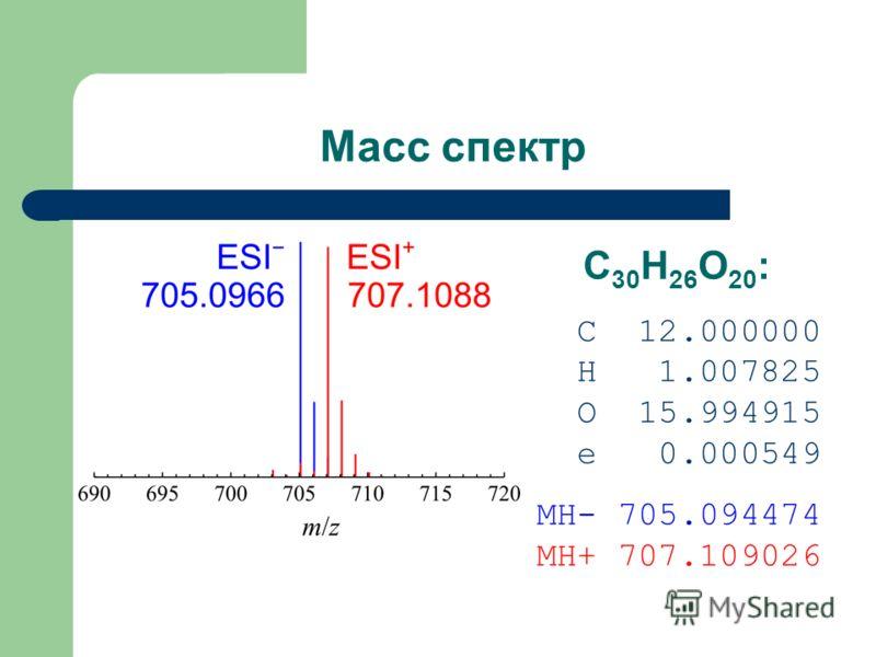 Масс спектр C 30 H 26 O 20 : C 12.000000 H 1.007825 O 15.994915 e 0.000549 MH- 705.094474 MH+ 707.109026