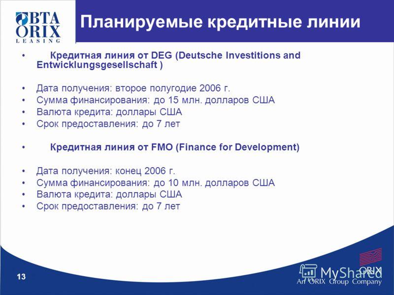 13 Планируемые кредитные линии Кредитная линия от DEG (Deutsche Investitions and Entwicklungsgesellschaft ) Дата получения: второе полугодие 2006 г. Сумма финансирования: до 15 млн. долларов США Валюта кредита: доллары США Срок предоставления: до 7 л