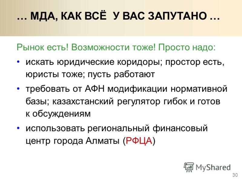 30 Рынок есть! Возможности тоже! Просто надо: … МДА, КАК ВСЁ У ВАС ЗАПУТАНО … искать юридические коридоры; простор есть, юристы тоже; пусть работают требовать от АФН модификации нормативной базы; казахстанский регулятор гибок и готов к обсуждениям ис