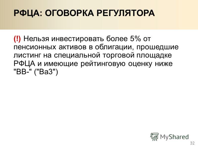 32 РФЦА: ОГОВОРКА РЕГУЛЯТОРА (!) Нельзя инвестировать более 5% от пенсионных активов в облигации, прошедшие листинг на специальной торговой площадке РФЦА и имеющие рейтинговую оценку ниже ВВ- (Ва3)