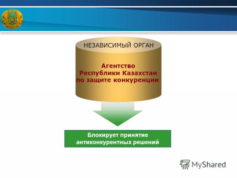 Агентство Республики Казахстан по защите конкуренции Блокирует принятие антиконкурентных решений НЕЗАВИСИМЫЙ ОРГАН