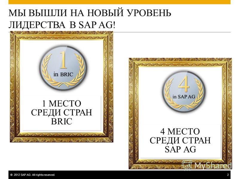 ©2012 SAP AG. All rights reserved.2 МЫ ВЫШЛИ НА НОВЫЙ УРОВЕНЬ ЛИДЕРСТВА В SAP AG! 1 МЕСТО СРЕДИ СТРАН BRIC 1 МЕСТО СРЕДИ СТРАН BRIC 4 МЕСТО СРЕДИ СТРАН SAP AG 4 МЕСТО СРЕДИ СТРАН SAP AG