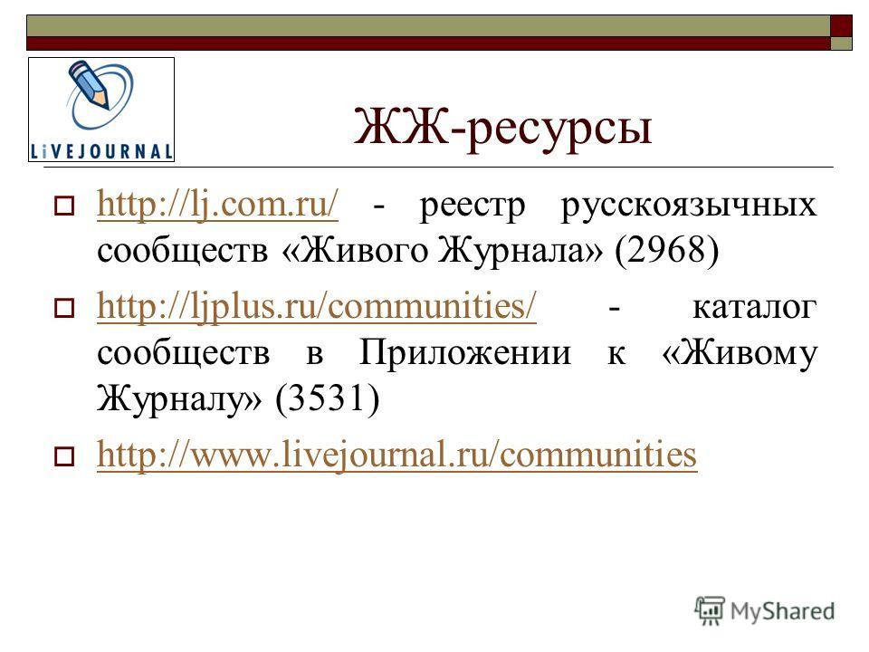 ЖЖ-ресурсы http://lj.com.ru/ - реестр русскоязычных сообществ «Живого Журнала» (2968) http://lj.com.ru/ http://ljplus.ru/communities/ - каталог сообществ в Приложении к «Живому Журналу» (3531) http://ljplus.ru/communities/ http://www.livejournal.ru/c