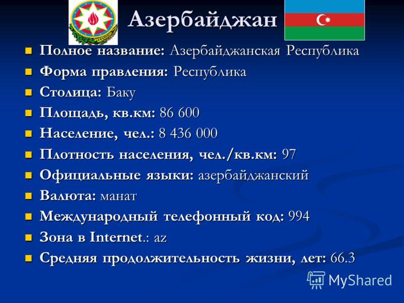 Азербайджан Полное название: Азербайджанская Республика Полное название: Азербайджанская Республика Форма правления: Республика Форма правления: Республика Столица: Баку Столица: Баку Площадь, кв.км: 86 600 Площадь, кв.км: 86 600 Население, чел.: 8 4