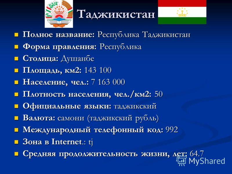 Таджикистан Полное название: Республика Таджикистан Полное название: Республика Таджикистан Форма правления: Республика Форма правления: Республика Столица: Душанбе Столица: Душанбе Площадь, км2: 143 100 Площадь, км2: 143 100 Население, чел.: 7 163 0