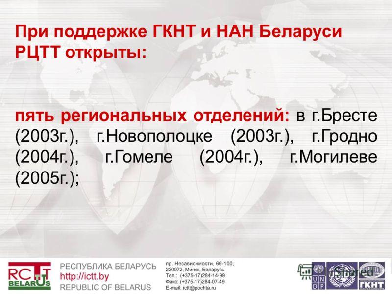 При поддержке ГКНТ и НАН Беларуси РЦТТ открыты: пять региональных отделений: в г.Бресте (2003г.), г.Новополоцке (2003г.), г.Гродно (2004г.), г.Гомеле (2004г.), г.Могилеве (2005г.);