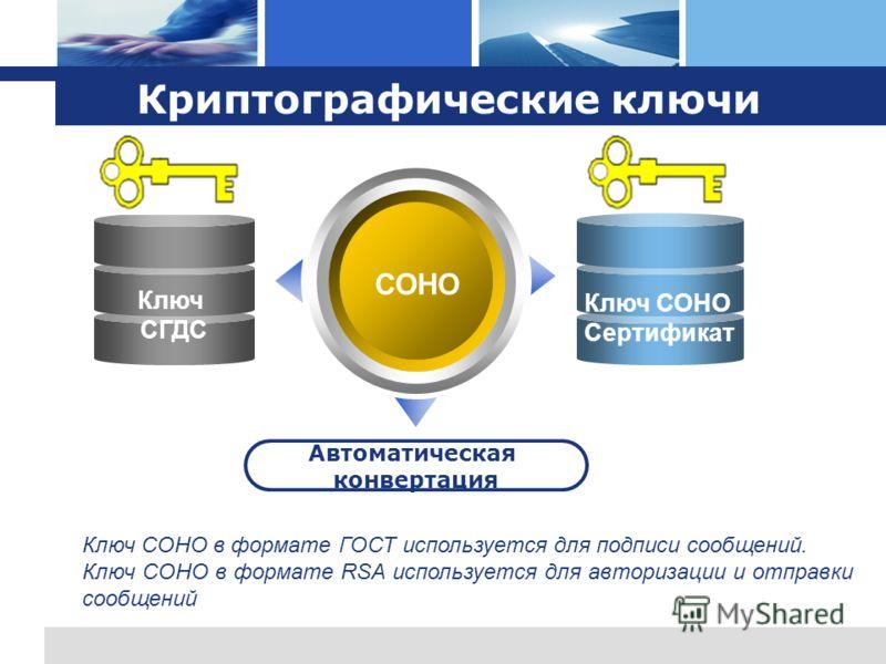 L o g o Криптографические ключи СОНО Автоматическая конвертация Ключ СОНО Сертификат Ключ СГДС Ключ СОНО в формате ГОСТ используется для подписи сообщений. Ключ СОНО в формате RSA используется для авторизации и отправки сообщений