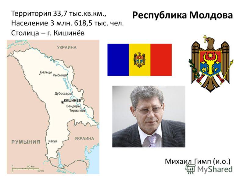 Территория 33,7 тыс.кв.км., Население 3 млн. 618,5 тыс. чел. Столица – г. Кишинёв Республика Молдова Михаил Гимп (и.о.)