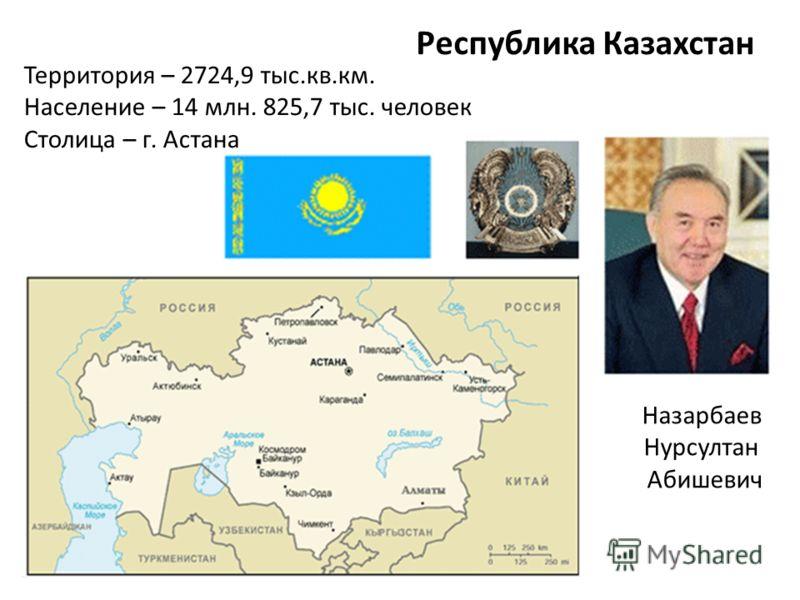 Республика Казахстан Назарбаев Нурсултан Абишевич Территория – 2724,9 тыс.кв.км. Население – 14 млн. 825,7 тыс. человек Столица – г. Астана