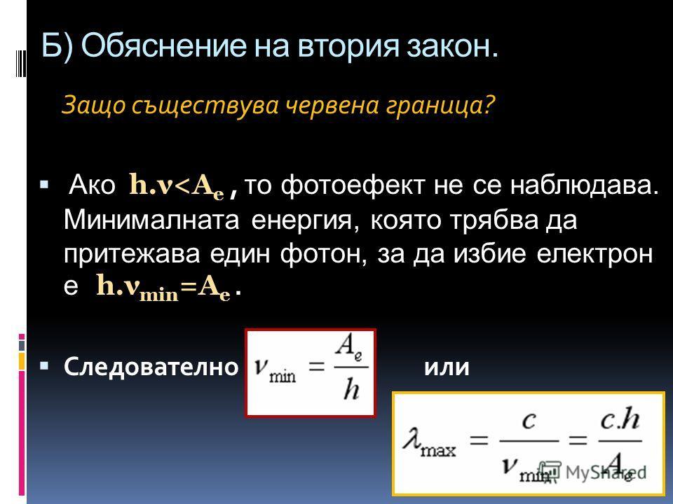 Б) Обяснение на втория закон. Защо съществува червена граница? Ако h.ν