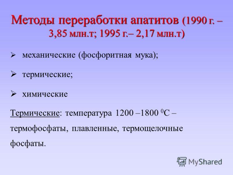 Методы переработки апатитов (1990 г. – 3,85 млн.т; 1995 г.– 2,17 млн.т) механические (фосфоритная мука); термические; химические Термические: температура 1200 –1800 0 С – термофосфаты, плавленные, термощелочные фосфаты.