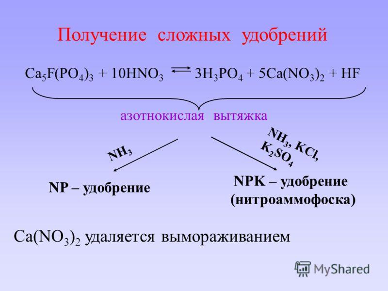 Получение сложных удобрений Ca 5 F(PO 4 ) 3 + 10HNO 3 3H 3 PO 4 + 5Ca(NO 3 ) 2 + HF азотнокислая вытяжка NH 3 NP – удобрение NH 3, KCl, K 2 SO 4 NPK – удобрение (нитроаммофоска) Ca(NO 3 ) 2 удаляется вымораживанием